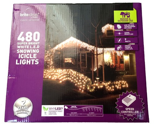 480 LED Snowing Icicle Lights - White